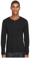 The Kooples Light Cotton and Washable Leather Henley Men's Long Sleeve Pullover