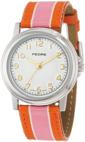 Pedre Women's 0231SX Silver-Tone with Pink-Orange Stripe Grosgrain Strap Watch