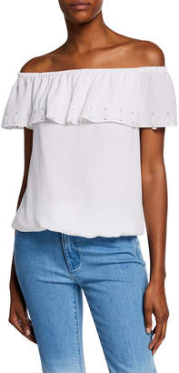 MICHAEL Michael Kors Off-Shoulder Short-Sleeve Ruffle Top