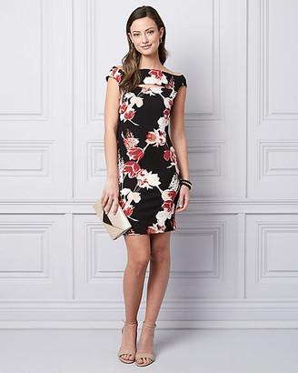 Le Château Floral Print Ponte Knit Cocktail Dress
