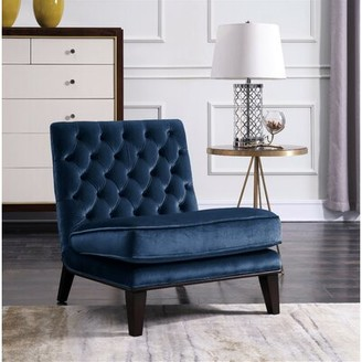Grove Lane Adelina Slipper Chair Grovelane Fabric: Navy Velvet