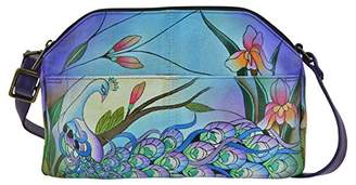 Anuschka Anna by Women's Genuine Leather Medium Multi-Compartment Crossbody | Hand Painted Original Artwork | Midnight Peacock