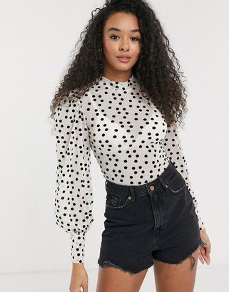 New Look ruched sleeve polka dot top in cream