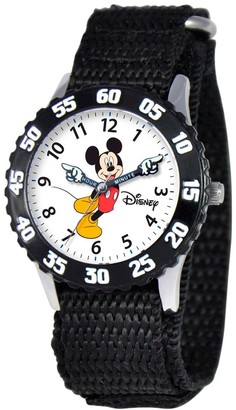 Disney Boy' Diney Mickey Moue tainle teel With Articulating Hand and Bezel Watch - Black