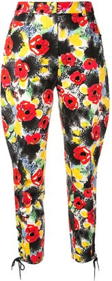 Chanel Pre Owned Camelia Print Cropped Trousers