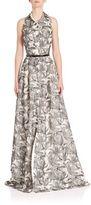 Carmen Marc Valvo Sleeveless Floral Print Gown