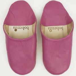 Bohemia Fuchsia Moroccan Babouche Basic Slippers - Small - Pink