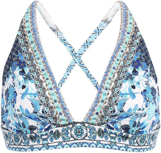 Camilla Crystal-embellished Printed Stretch-jersey Soft-cup Triangle Bra