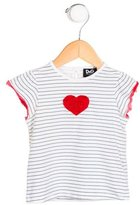 Dolce & Gabbana Girls' Striped Heart-Embroidered Top