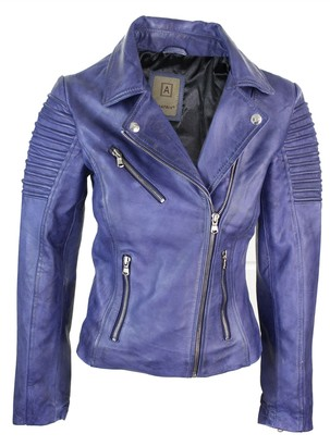Aviatrix Ladies Women Genuine Real Leather Slim Fit Brown Biker Jacket