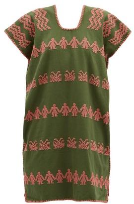 Pippa No.205 Embroidered Cotton Kaftan - Green Print