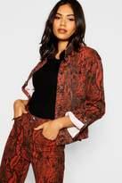 boohoo Debbie Slim Fit Snake Print Denim Jacket