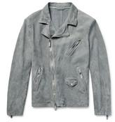 Giorgio Armani Slim-Fit Washed-Suede Biker Jacket