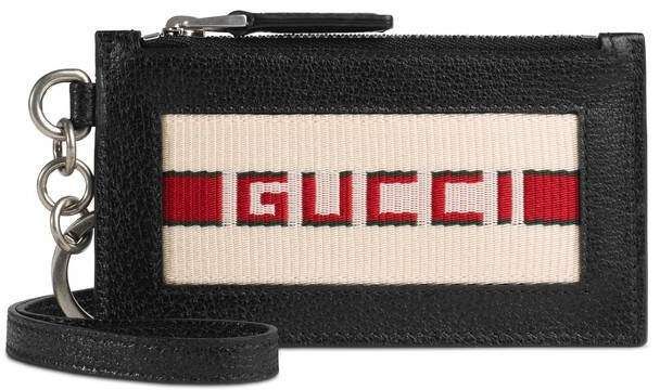 Gucci stripe leather card case