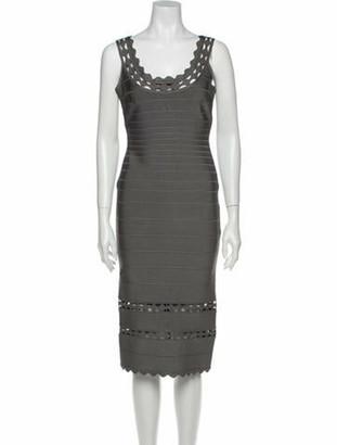 Herve Leger Lilykate Midi Length Dress Grey