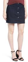 Hinge Snap Front Denim Miniskirt (Rain Dark Rinse)