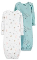 Carter's Little Planet Organic By Little Planet Organic by Baby Boy or Girl Unisex Gown Pajamas, 2-Pack