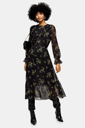 Topshop Womens Yellow Wild Floral Print Frill Midi Dress - Black