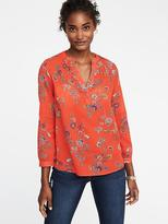 Old Navy Printed Linen-Blend Blouse for Women