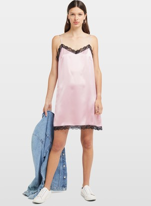 Miss Selfridge Pink Lace Trim Slip Dress