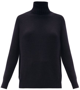 Allude Roll-neck Wool-blend Sweater - Navy