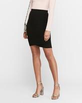 Express High Waisted Ribbed Wrap Hem Pencil Skirt