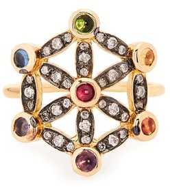 Noor Fares Diamond, Sapphire & 18kt Gold Pinky Ring - Yellow Gold