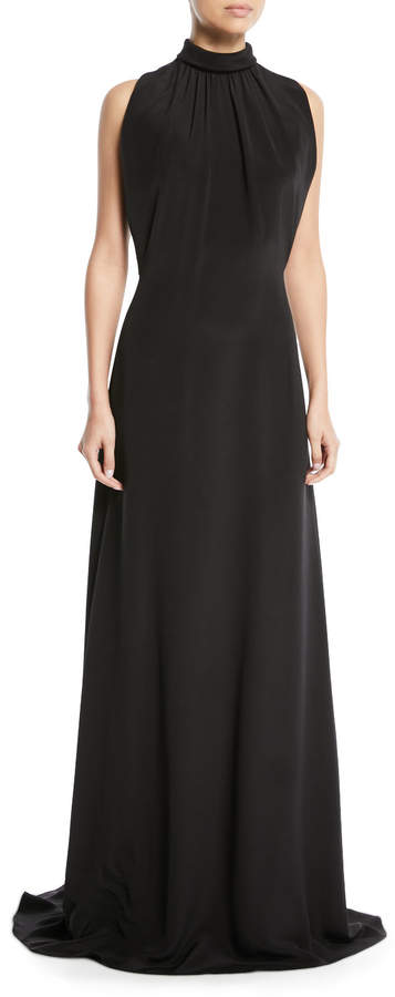 Derek Lam Mock-Neck Sleeveless Long Silk Evening Gown