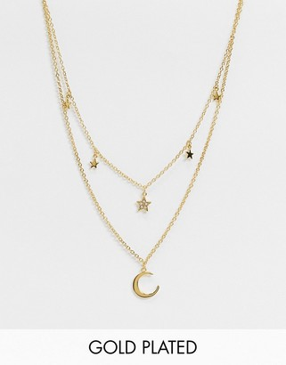 Olivia Burton celestial double crescent moon and star necklace in gold plate
