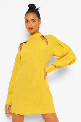 boohoo Textured Cut Out High Neck Shift Dress