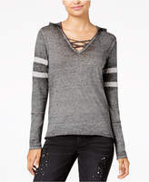 Planet Gold Juniors' Burnout Crisscross-Trim Hoodie