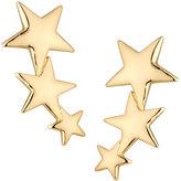 Kenneth Jay Lane Golden Triple-Star Clip-On Crawler Earrings