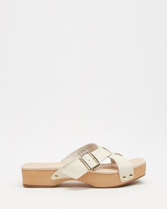AERE - Women's Neutrals Sandals - Crossover Buckle Detail Clog Slides - Size 6 at The Iconic