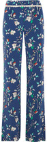 Paloma Blue - Portofino Crochet-trimmed Printed Silk-satin Wide-leg Pants - Navy