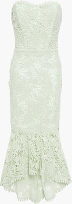 Maria Lucia Hohan Luri Strapless Lace-up Cotton Guipure Lace Midi Dress