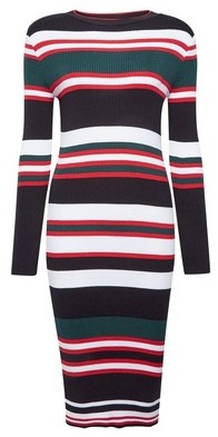 Dorothy Perkins Womens Navy Striped Knitted Dress