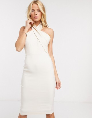 Vesper cross neck midi dress in beige