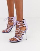 Asos Design DESIGN Nine lace up heeled sandals in lilac