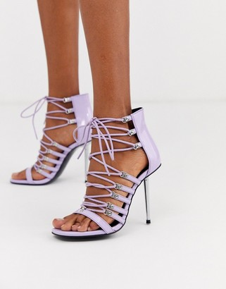 Asos Design DESIGN Nine lace up heeled sandals in lilac-Purple