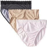 Olga Women's Without a Stitch Lace Hi-Cut Brief Panty (Pack of 3)
