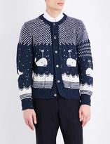 Thom Browne Whale jacquard-print wool-blend cardigan
