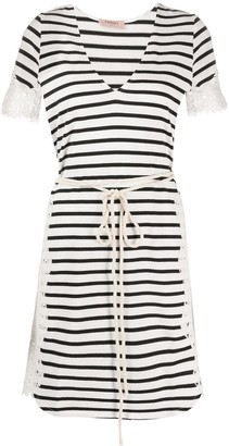 Twin-Set Striped Short-Sleeve Dress