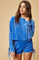 Honey Punch Lace-Up Sleeve Crew Neck Sweatshirt
