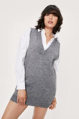 Nasty Gal Womens V Back Soon Knitted Mini Dress - Grey