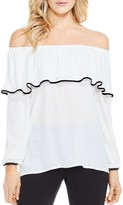 Vince Camuto Off-the-Shoulder Ruffle Overlay Top
