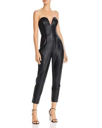 Amanda Uprichard Cherri Strapless Faux-Leather Jumpsuit