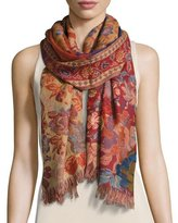 Sabira Chaman Floral Wool Stole, Red