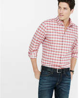 Express fitted tonal check plaid oxford shirt