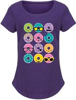 Purple Kawaii Donuts Curved-Hem Tee - Girls