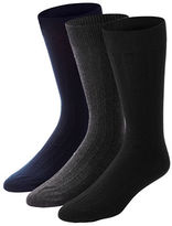 Black Brown 1826 Mens Three-Pack Ribbed Combed Cotton Socks